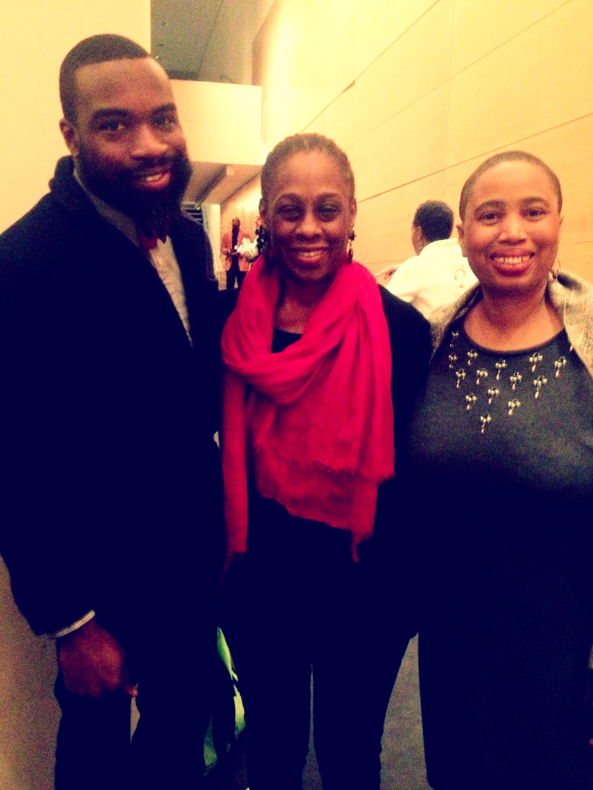 Darnell L. Moore, First Lady of New York Chirlane McCray, and Aishah Shahidah Simmons at Mother Tongue Monologues 2014