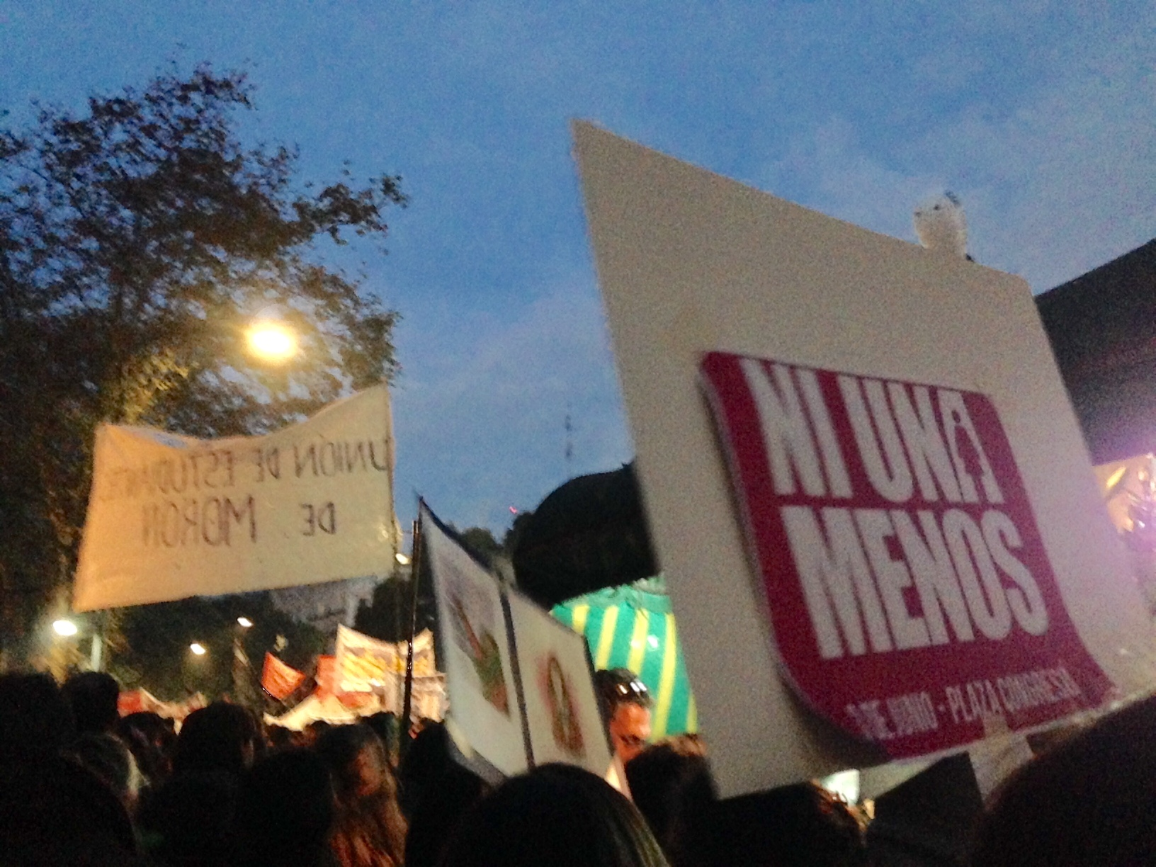 Photo Credit: Fiona Gilligan.  The recognizable #NiUnaMenos logo has become commonplace throughout the country.