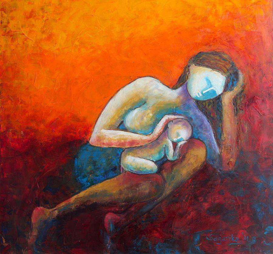 """Mother's Lap,"" painting by Sagarika Sen, 2012."